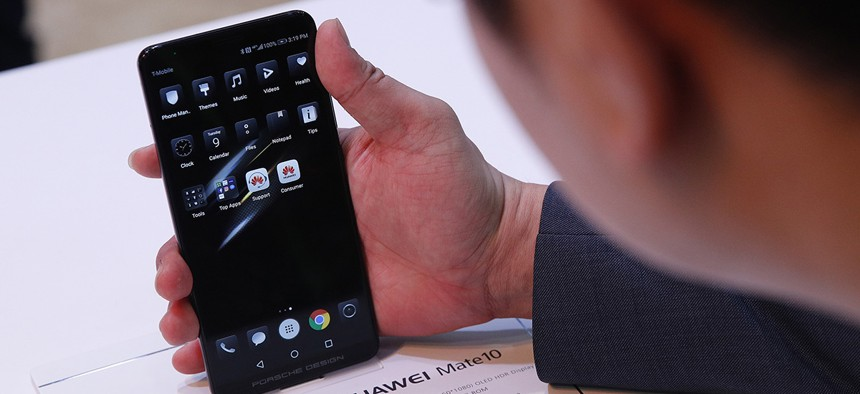 The Huawei Mate10 phone is on display at the Huawei booth during CES International, Tuesday, Jan. 9, 2018.