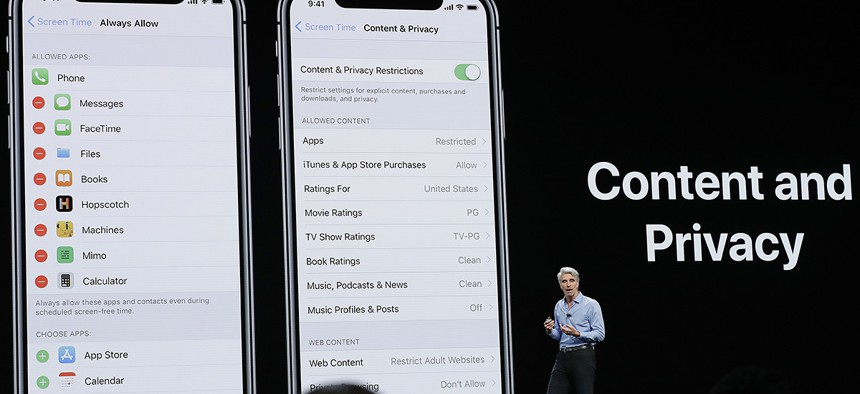 Craig Federighi, Apple's senior vice president of Software Engineering, speaks about content and privacy during an announcement of new products at the Apple Worldwide Developers Conference Monday, June 4, 2018.