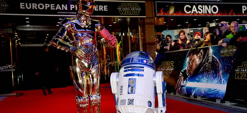 """R2-D2 and C-3PO at the premiere of """"Star Wars: The Force Awakens""""."""