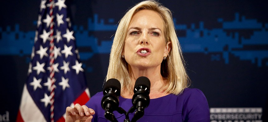 Secretary of Homeland Security Kirstjen Nielsen address the DHS National Cybersecurity Summit, Tuesday, July 31, 2018, in New York.