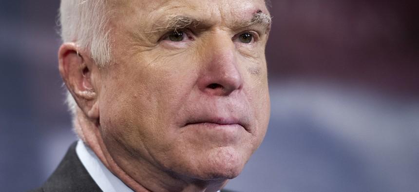 Sen. John McCain, R-Ariz., speaks to reporters on Capitol Hill in Washington, Thursday, July 27, 2017.