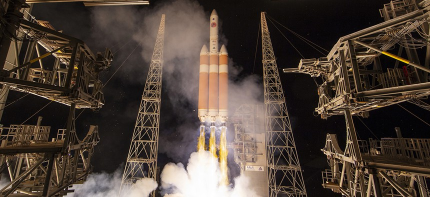 A Delta IV rocket, carrying the Parker Solar Probe, lifts off from launch complex 37 at the Kennedy Space Center, Sunday, Aug. 12, 2018, in Cape Canaveral, Fla.