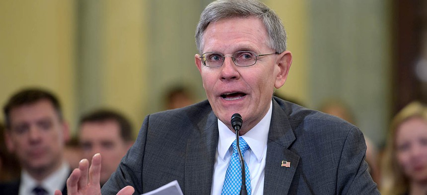 Dr. Kelvin Droegemeier appears before the Senate Committee on Commerce, Science, and Transportation as the nominee to be the Director of the Office of Science and Technology Policy on Thursday, Aug. 23, 2018.