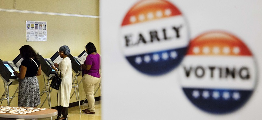 voters casting ballots during early voting in Atlanta in 2016.
