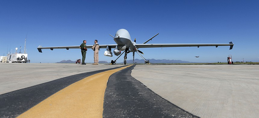 A Customs and Border Patrol drone prepares for flight at Ft. Huachuca in Sierra Vista, Ariz.