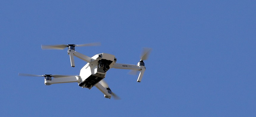 A DJI Mavic Pro drone flies in front of the Philadelphia Museum of Art.