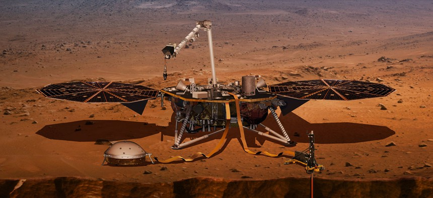 An artist's impression of the InSight lander on Mars.