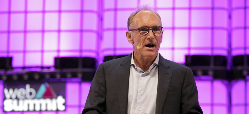 Tim Berners-Lee, known as the inventor of the World Wide Web, addresses the attendees during the opening of the Web Summit technology conference in Lisbon, Monday, Nov. 5 2018.