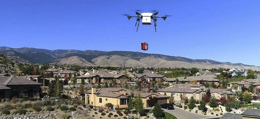 A Flirtey, Nev., delivery drone demonstrates the delivery of a defibrillator for cardiac arrest patients in Reno.