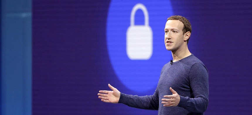 Facebook CEO Mark Zuckerberg makes the keynote speech at F8, Facebook's developer conference in San Jose, Calif.