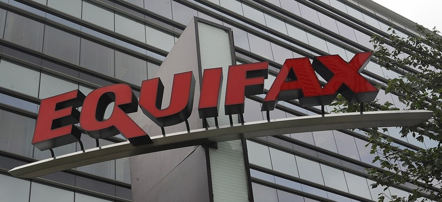 Signage at the corporate headquarters of Equifax Inc. in Atlanta.