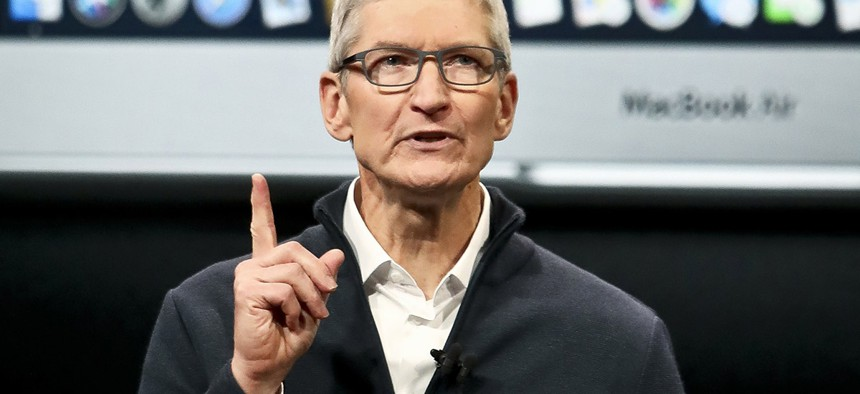 Apple CEO Tim Cook speaks during an event to announce new products Tuesday Oct. 30, 2018.