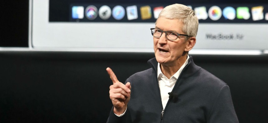 Apple CEO Tim Cook speaks during an event to announce new products Oct. 30 in the Brooklyn borough of New York.