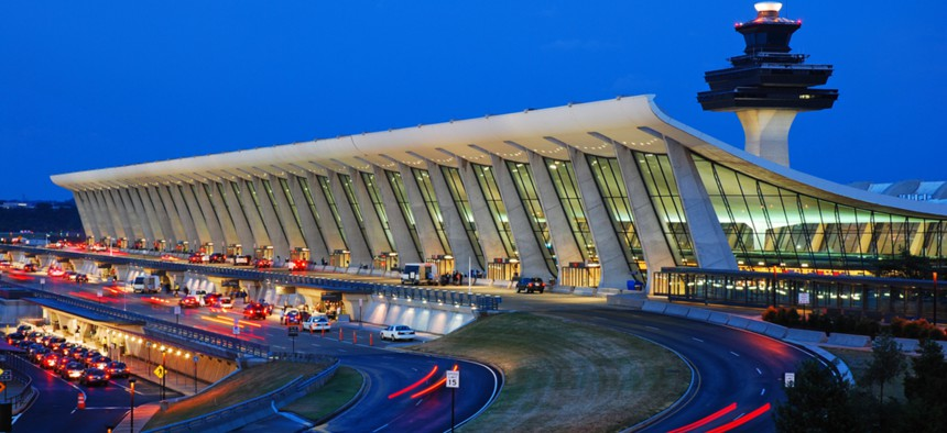 Traffic heads to Dulles International Airport's main terminal in Virginia.
