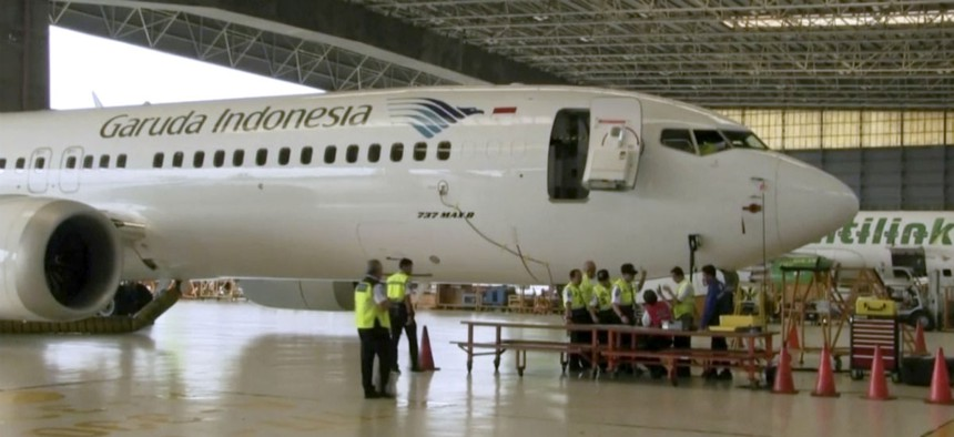 In this image from video taken on Tuesday, March 12, 2019, a Boeing 737 Max 8 aircraft is in hangar before the inspection at Garuda Maintenance Facility at Soekarno Hatta airport, Jakarta.