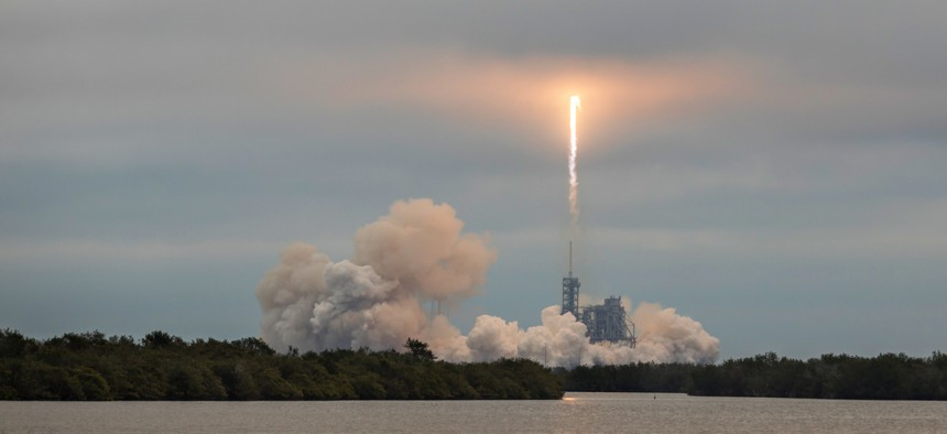 A SpaceX debuts Falcon 9 launch in 2017.
