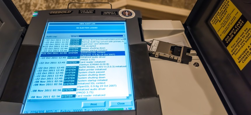 Diebold voting machine in El Paso, Texas, on February 25, 2008. Voting machines are increasingly popular in US elections, although concerns about accuracy and hacking persist.