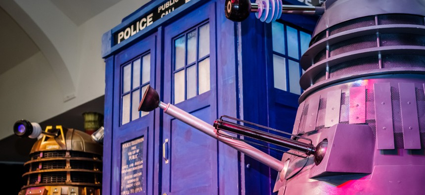 """Dalek models and the Tardis from """"Doctor Who"""" at the Sci-Fi Scarborough convention in 2017."""