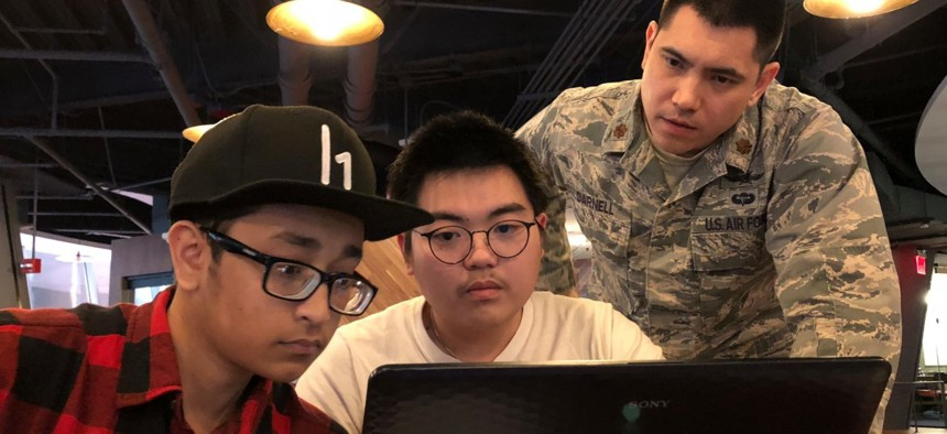 HackerOne coordinated with the nonprofit organization Code.org, to invite a group of students to the Hack the Air Force 2.0 event to learn more about computer sciences.