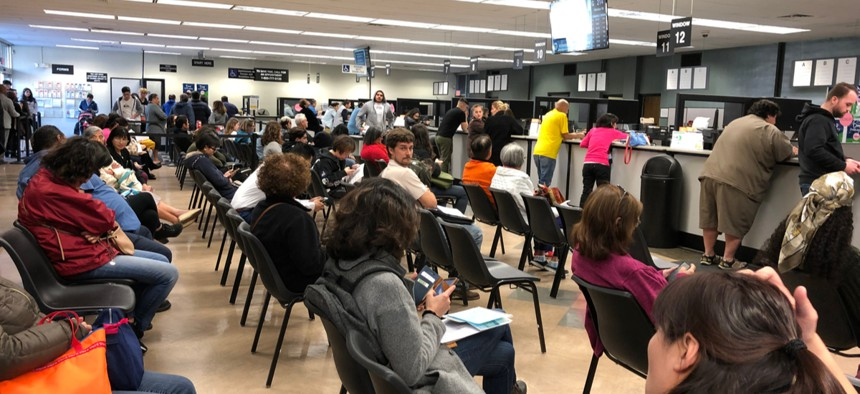 Customers wait at a California Department of Motor Vehicles.