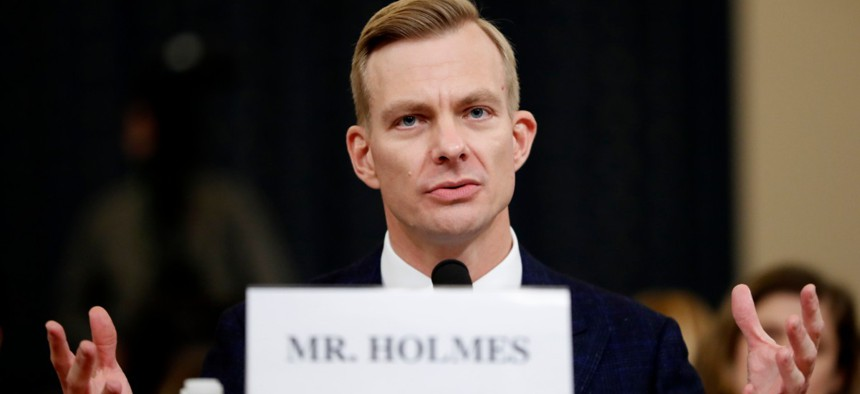 David Holmes, a U.S. diplomat in Ukraine, testifies before the House Intelligence Committee on Capitol Hill in Washington, Nov. 21.