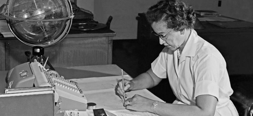 NASA mathematician Katherine Johnson is seen in 1962.