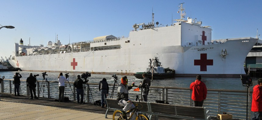 USNS Mercy enters the Port of Los Angeles on March 27.