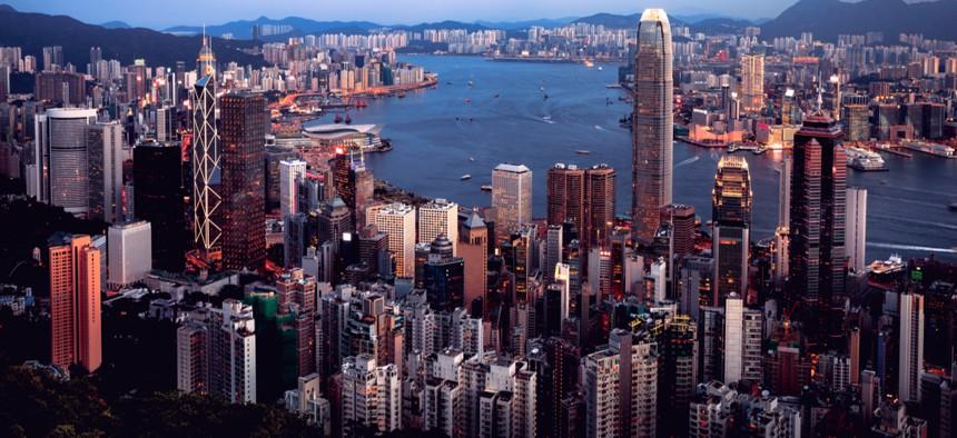 Hong Kong skyline day time at Victoria peak, Hong Kong China