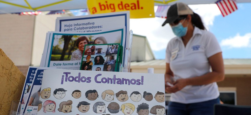 A children's book is displayed at a U.S. Census walk-up counting site set up for Hunt County in Greenville, Texas, July 31.