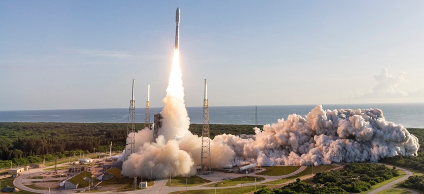 A United Launch Alliance Atlas V rocket carrying the Mars 2020 mission with the Perseverance rover lifts off from Space Launch Complex-41 at 7:50 a.m. EDT on July 30, 2020.