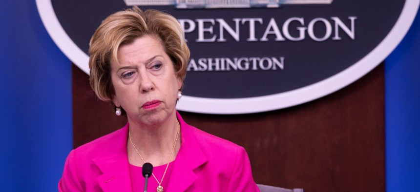 Under Secretary of Defense for Acquisition and Sustainment Ellen Lord at a press briefing August 20.