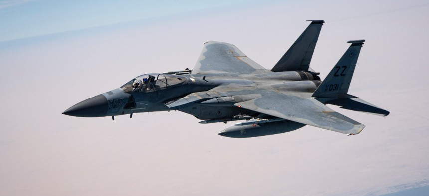 A U.S. Air Force F-15C Eagle flies over the U.S. Central Command area of responsibility, Aug. 16, 2020.