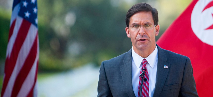 Secretary of Defense Mark Esper delivers his speech as he visits the American military cemetery in Carthage Sept. 30.