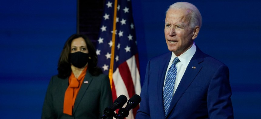President-elect Joe Biden, joined by Vice President-elect Kamala Harris, speaks at The Queen theater Nov. 9.