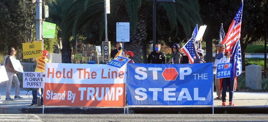Protestors outside an FBI Building in Los Angeles, Calif.