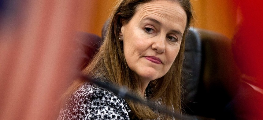 Former U.S. Defense Undersecretary Michele Flournoy prepares for a bilateral meeting in Beijing, China, in 2011.