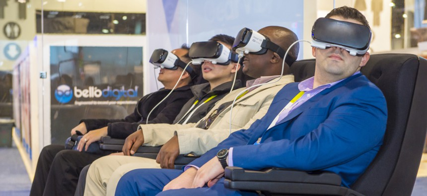 Attendees of a previous CES tryout virtual reality. The 2021 tradeshow was held virtually.