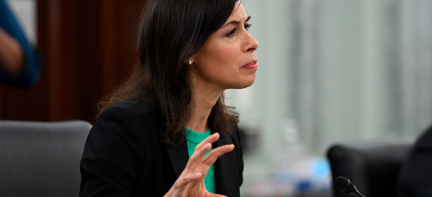 Jessica Rosenworcel speaks during a Senate Commerce, Science, and Transportation committee hearing to examine the Federal Communications Commission on Capitol Hill in June.