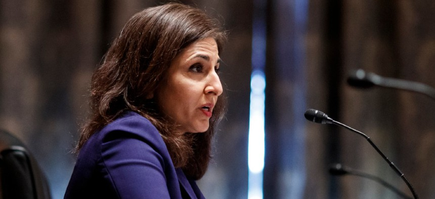 Neera Tanden testifies before the Senate Homeland Security and Government Affairs committee on her nomination to become the Director of the Office of Management and Budget Feb. 9.