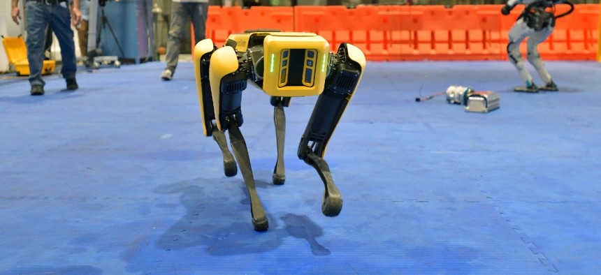 A Boston Dynamics' Spot robot performs during a Jan. 13 demonstration in Waltham, Mass.