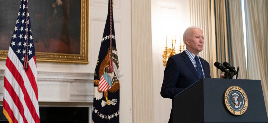 President Joe Biden speaks in the State Dining Room of the White House March 6.