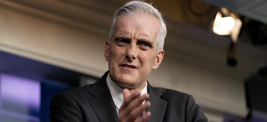 Veterans Affairs Secretary Denis McDonough speaks during a press briefing at the White House, Thursday, March 4, 2021, in Washington.