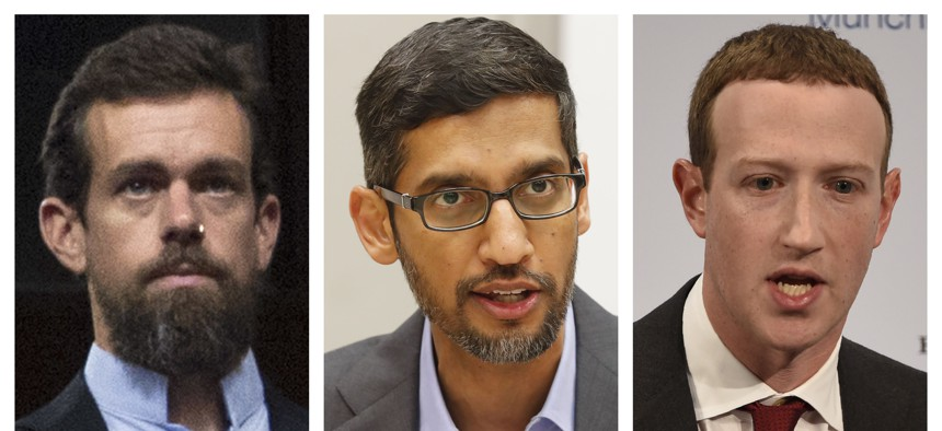 This combination of 2018-2020 photos shows, from left, Twitter CEO Jack Dorsey, Google CEO Sundar Pichai, and Facebook CEO Mark Zuckerberg. The CEOs of social media giants Facebook, Twitter and Google face a new grilling by Congress, Thursday, March 25, 2
