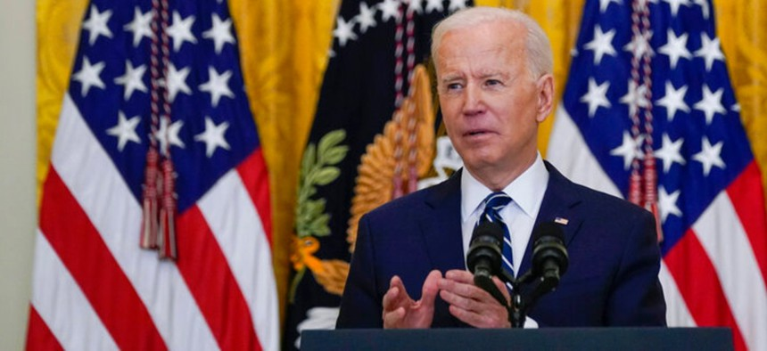 President Joe Biden speaks during a news conference in the East Room of the White House March 25.