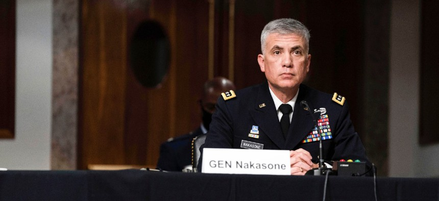 Gen. Paul Nakasone speaks at a hearing to examine United States Special Operations Command and United States Cyber Command in review of the Defense Authorization Request for fiscal year 2022 and the Future Years Defense Program March 25.
