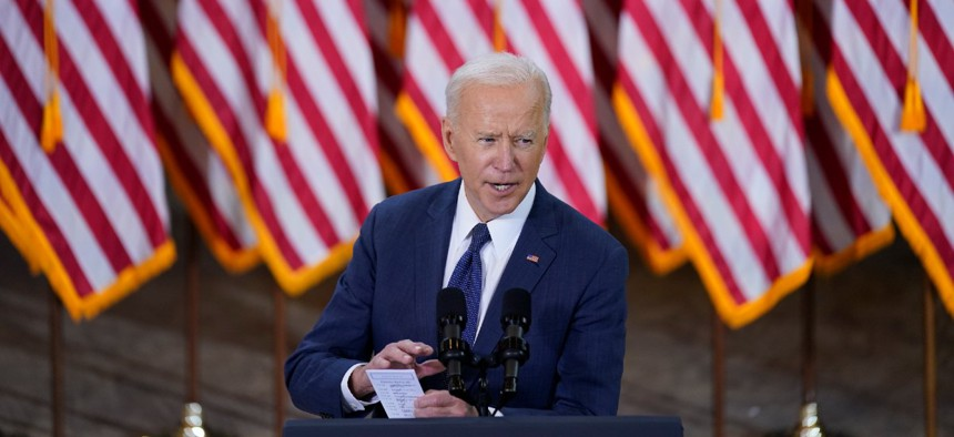 President Joe Biden delivers a speech on infrastructure spending at Carpenters Pittsburgh Training Center March 31.