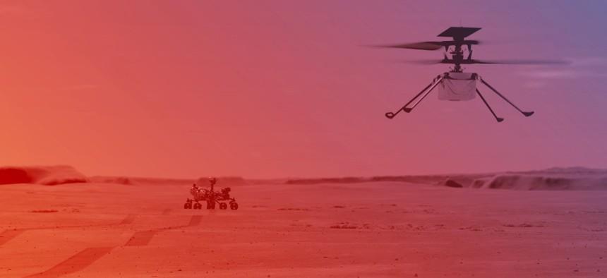 An illustration of NASA's Ingenuity Helicopter flying on Mars.