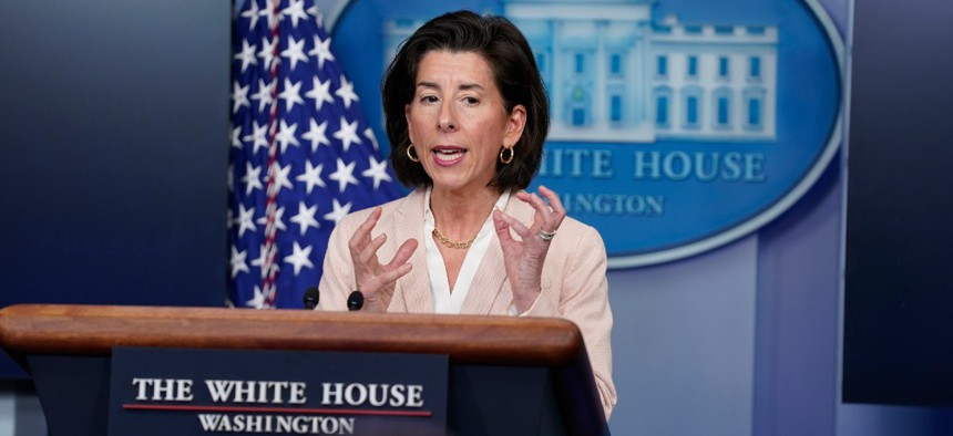 Commerce Secretary Gina Raimondo speaks during a press briefing at the White House April 7.
