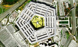 3D drone satellite view of Pentagon building Washington DC USA