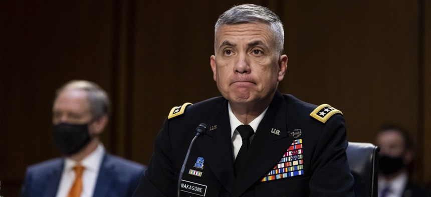 National Security Agency (NSA) Director Gen. Paul Nakasone testifies during a Senate Select Committee on Intelligence hearing about worldwide threats, on Capitol Hill in Washington, Wednesday, April 14, 2021.